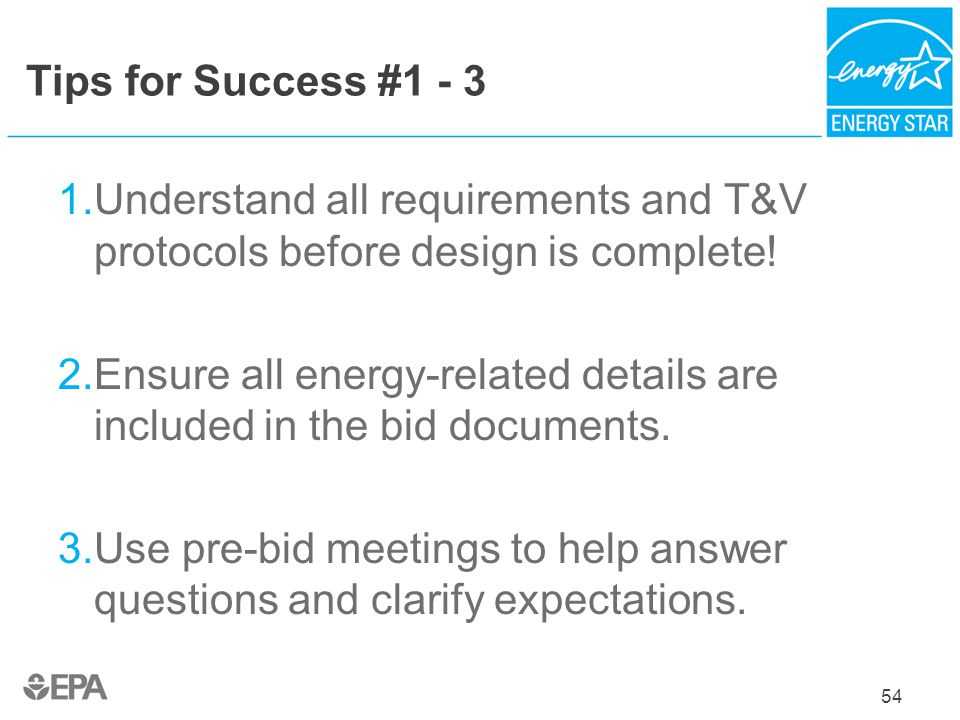 Ensure all energy-related details are included in the bid documents.