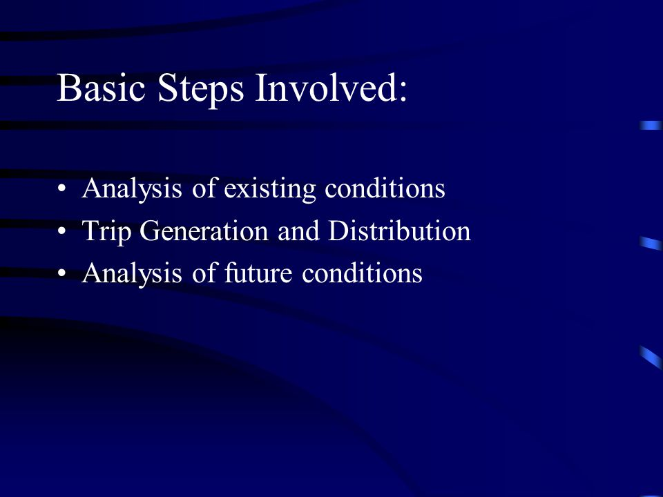 Basic Steps Involved: Analysis of existing conditions
