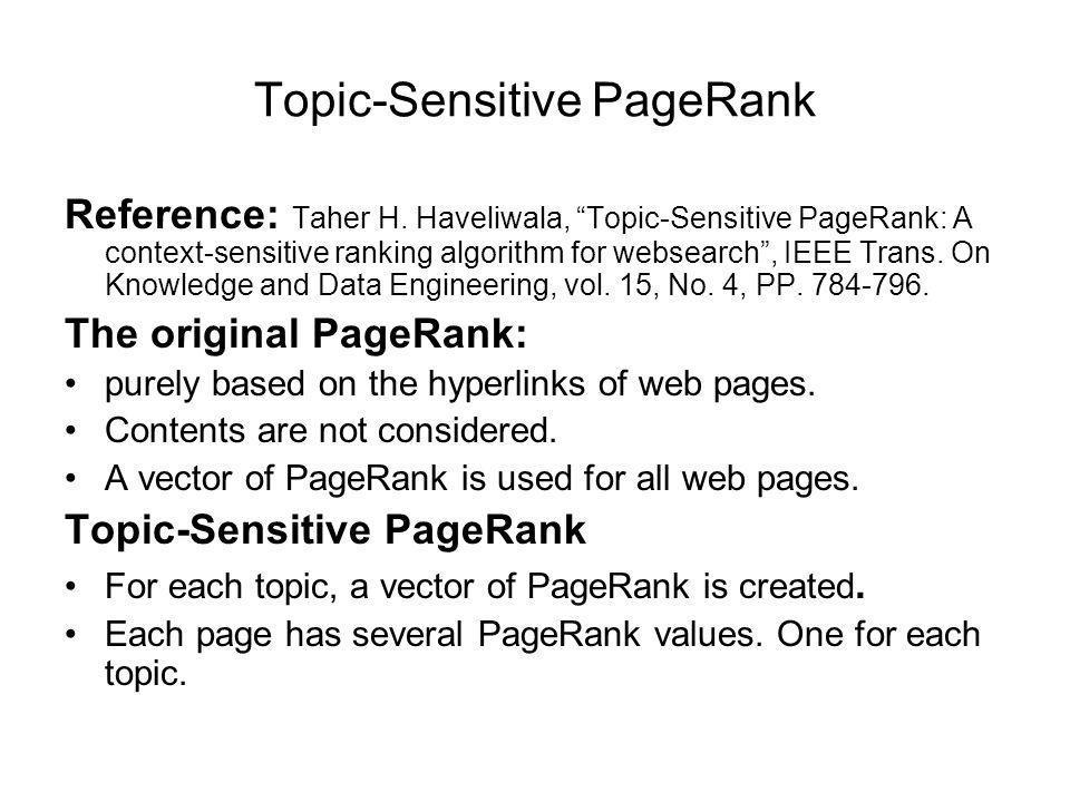 Topic-Sensitive PageRank