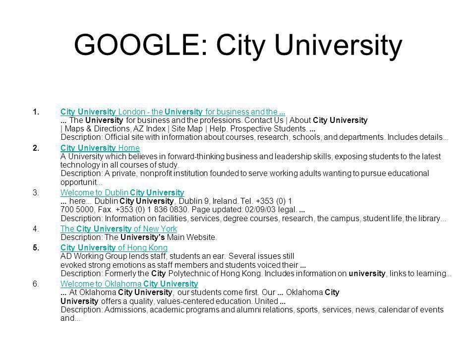 GOOGLE: City University