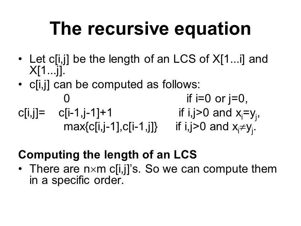 The recursive equation