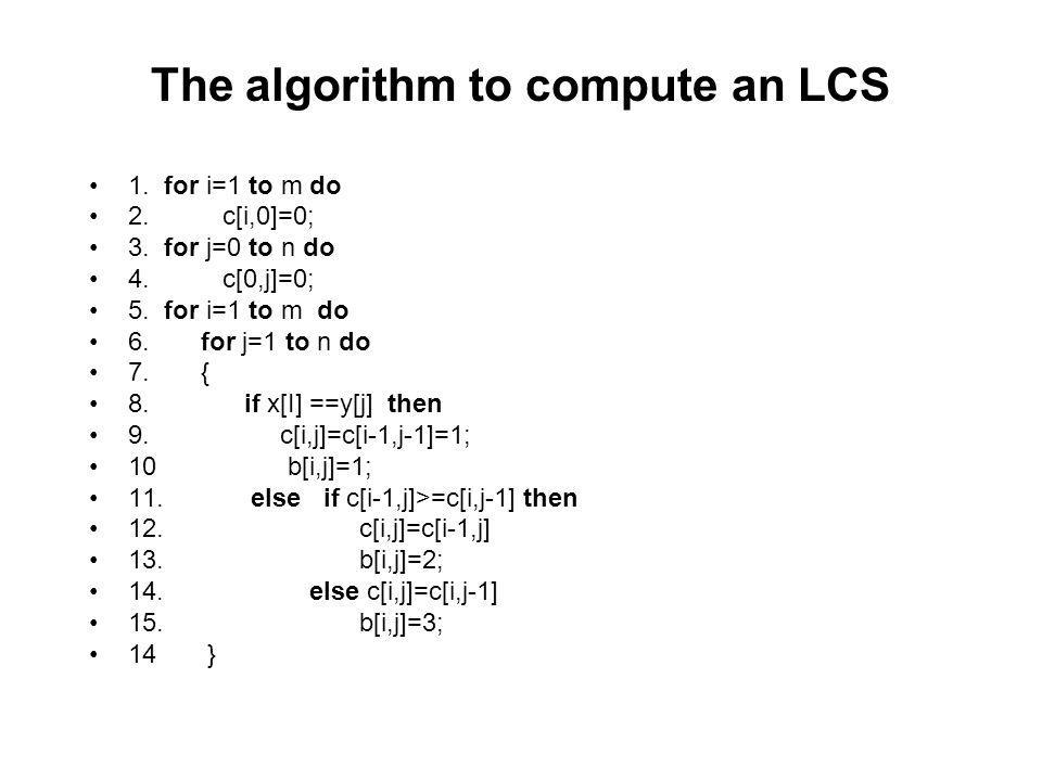 The algorithm to compute an LCS