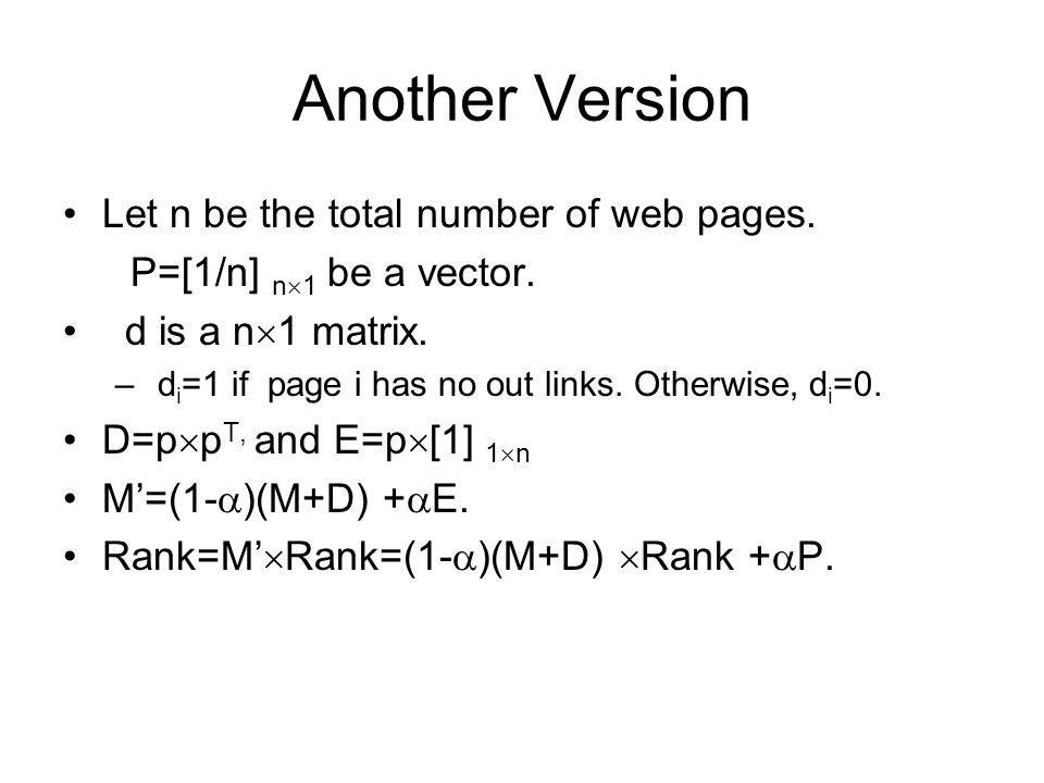 Another Version Let n be the total number of web pages.