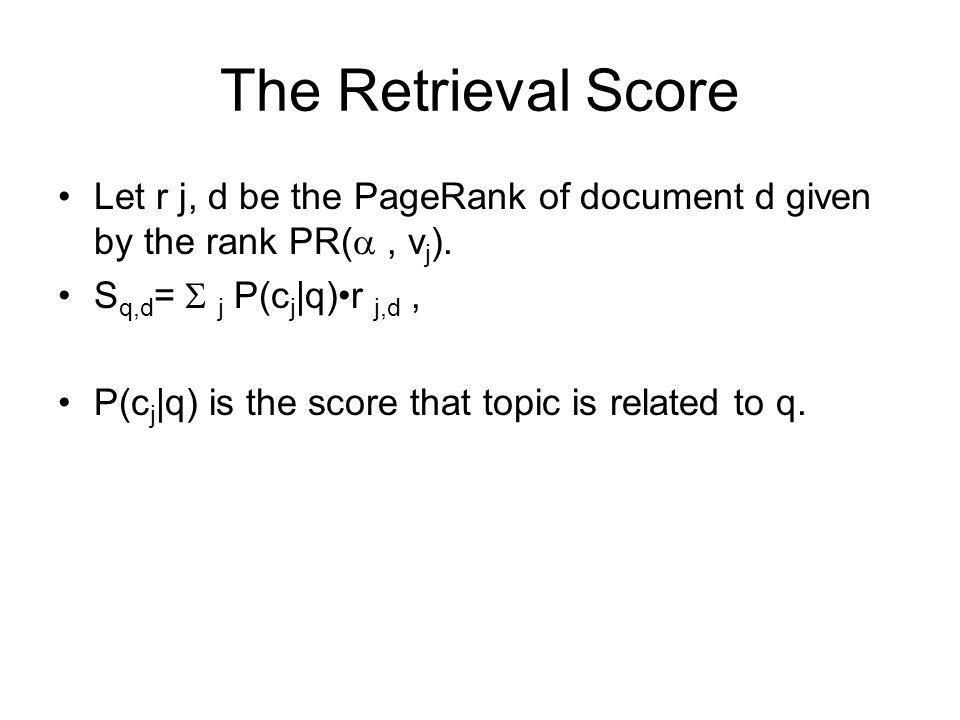 The Retrieval Score Let r j, d be the PageRank of document d given by the rank PR( , vj). Sq,d=  j P(cj|q)•r j,d ,