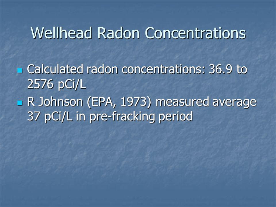 Wellhead Radon Concentrations