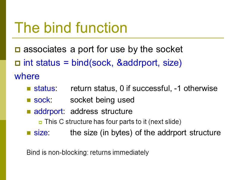 The bind function associates a port for use by the socket