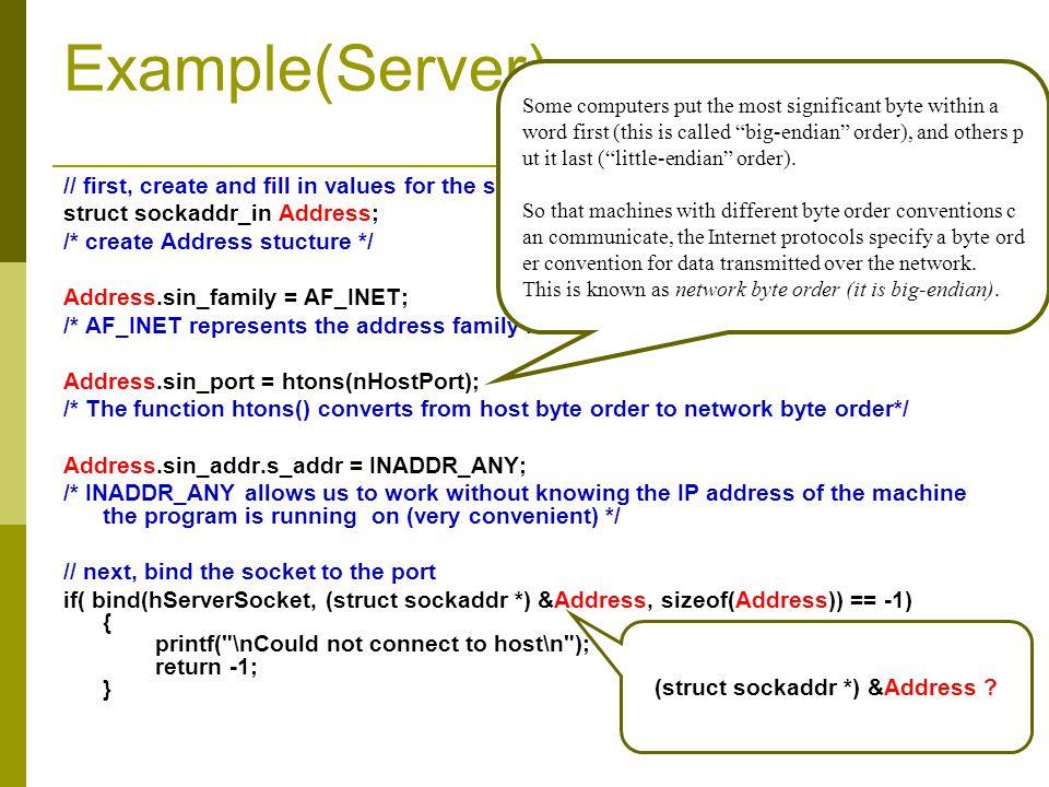(struct sockaddr *) &Address