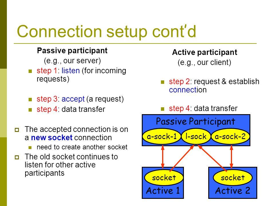 Connection setup cont'd