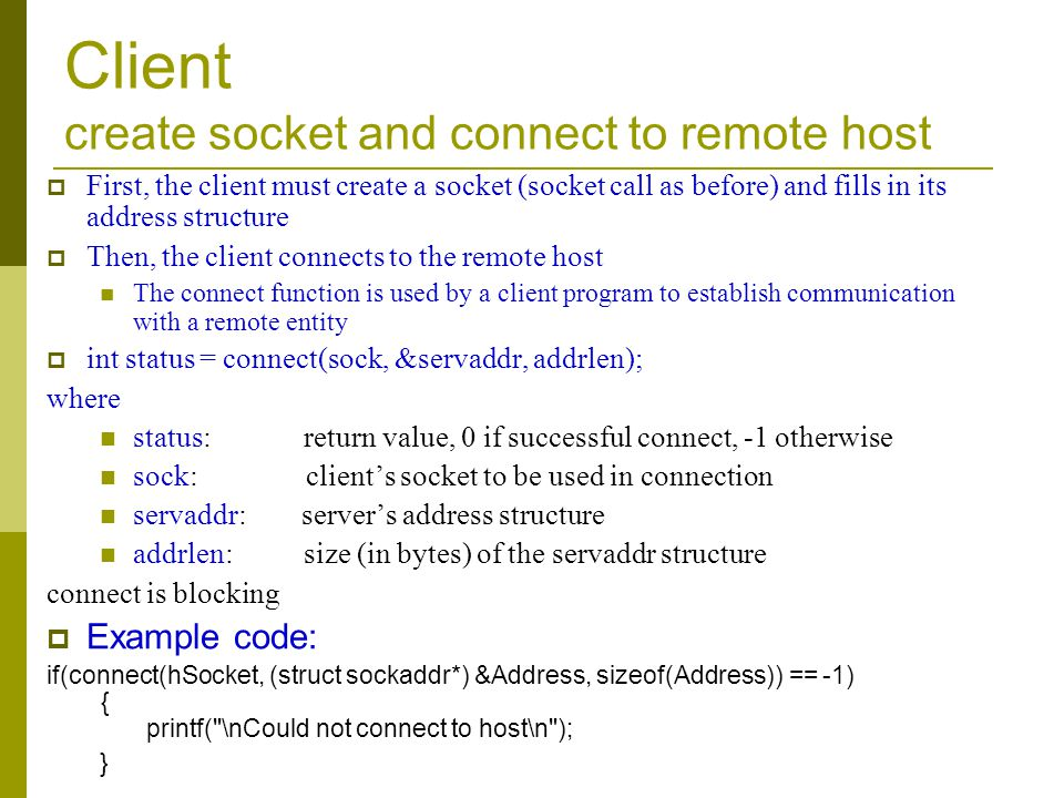 Client create socket and connect to remote host