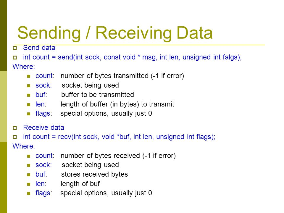 Sending / Receiving Data