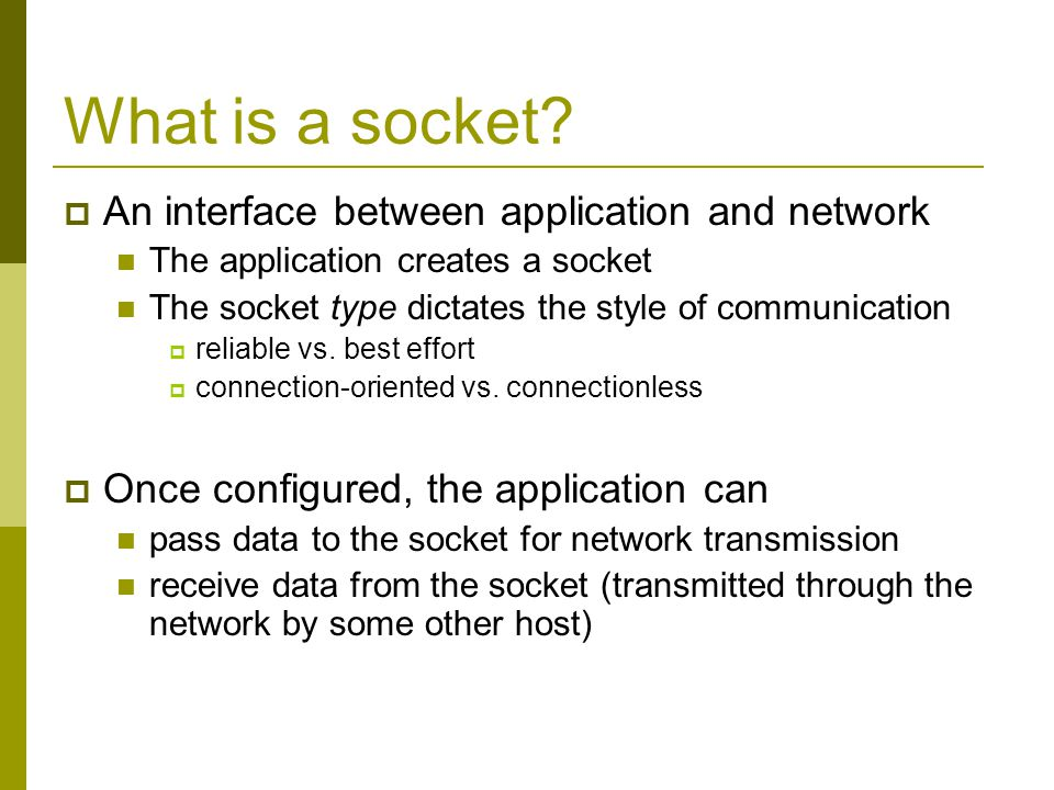 What is a socket An interface between application and network