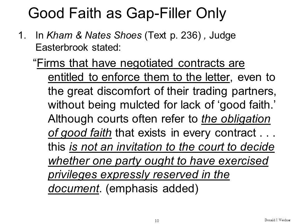 Good Faith as Gap-Filler Only