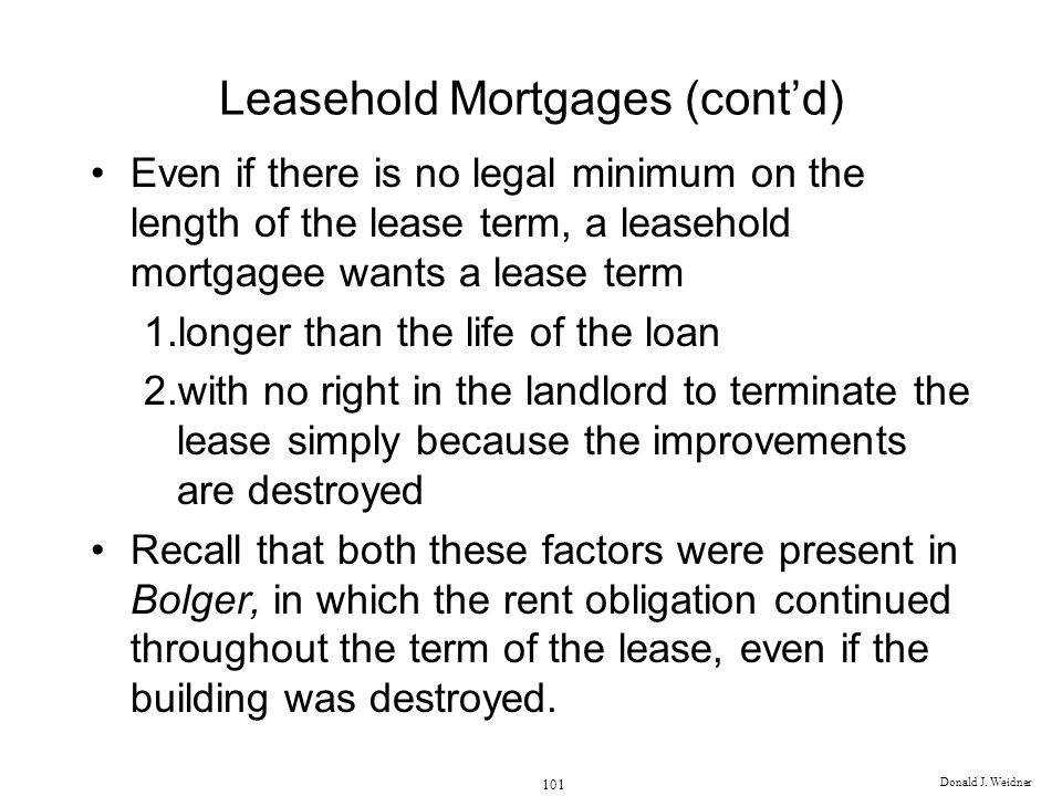 Leasehold Mortgages (cont'd)