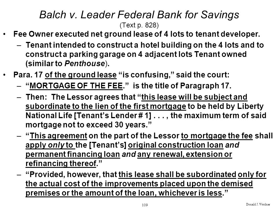 Balch v. Leader Federal Bank for Savings (Text p. 828)
