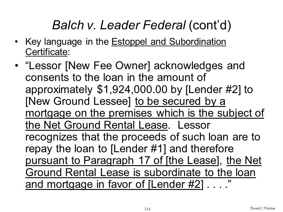 Balch v. Leader Federal (cont'd)
