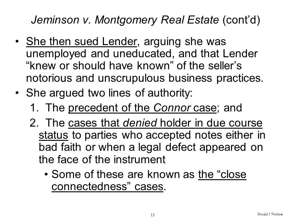 Jeminson v. Montgomery Real Estate (cont'd)