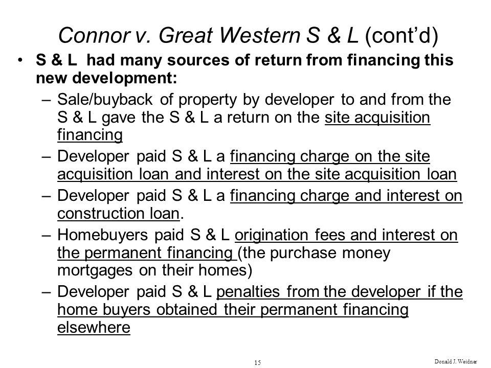 Connor v. Great Western S & L (cont'd)