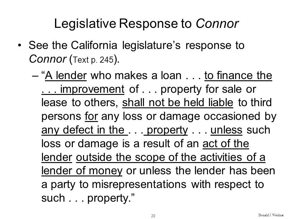 Legislative Response to Connor