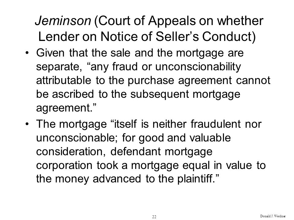 Jeminson (Court of Appeals on whether Lender on Notice of Seller's Conduct)