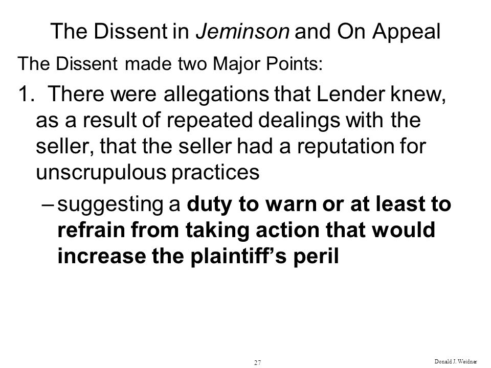 The Dissent in Jeminson and On Appeal