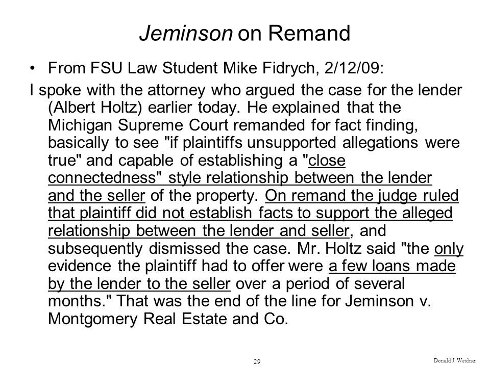 Jeminson on Remand From FSU Law Student Mike Fidrych, 2/12/09: