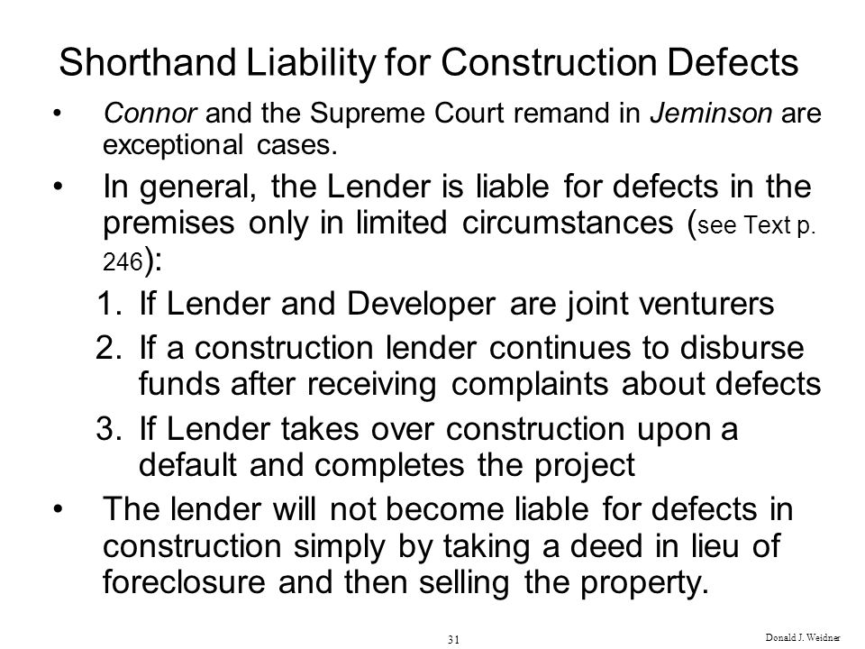 Shorthand Liability for Construction Defects