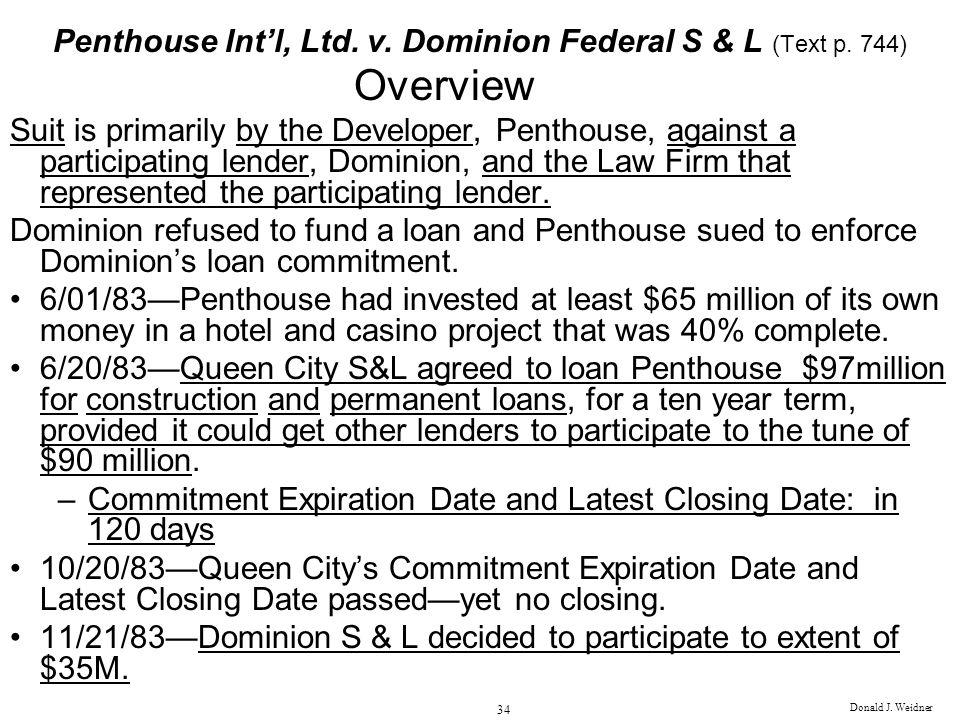 Penthouse Int'l, Ltd. v. Dominion Federal S & L (Text p. 744)