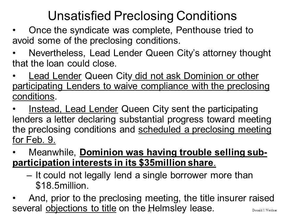 Unsatisfied Preclosing Conditions