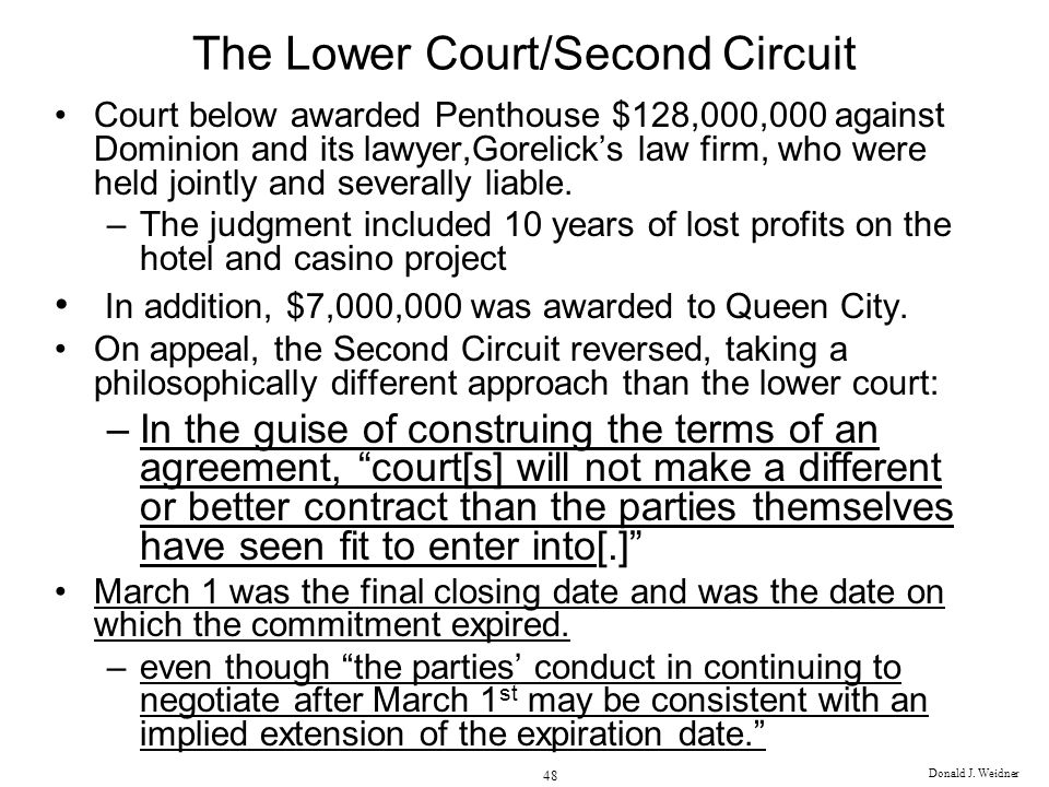 The Lower Court/Second Circuit