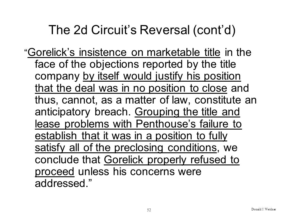 The 2d Circuit's Reversal (cont'd)