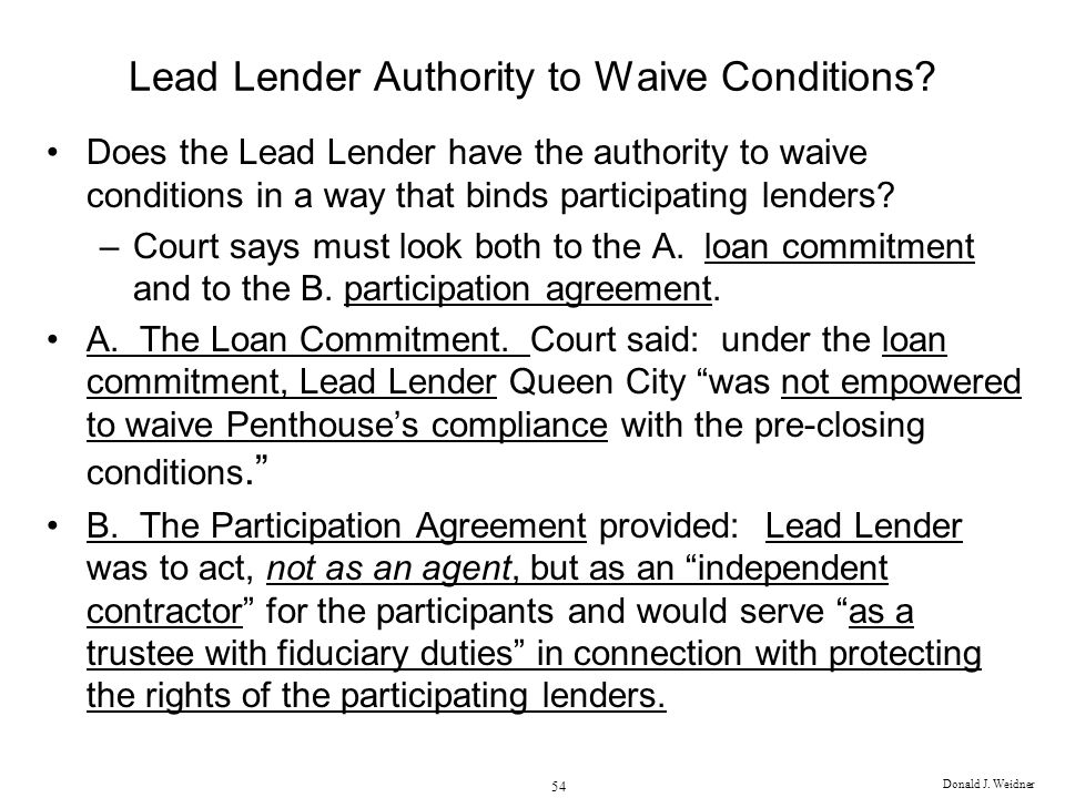 Lead Lender Authority to Waive Conditions