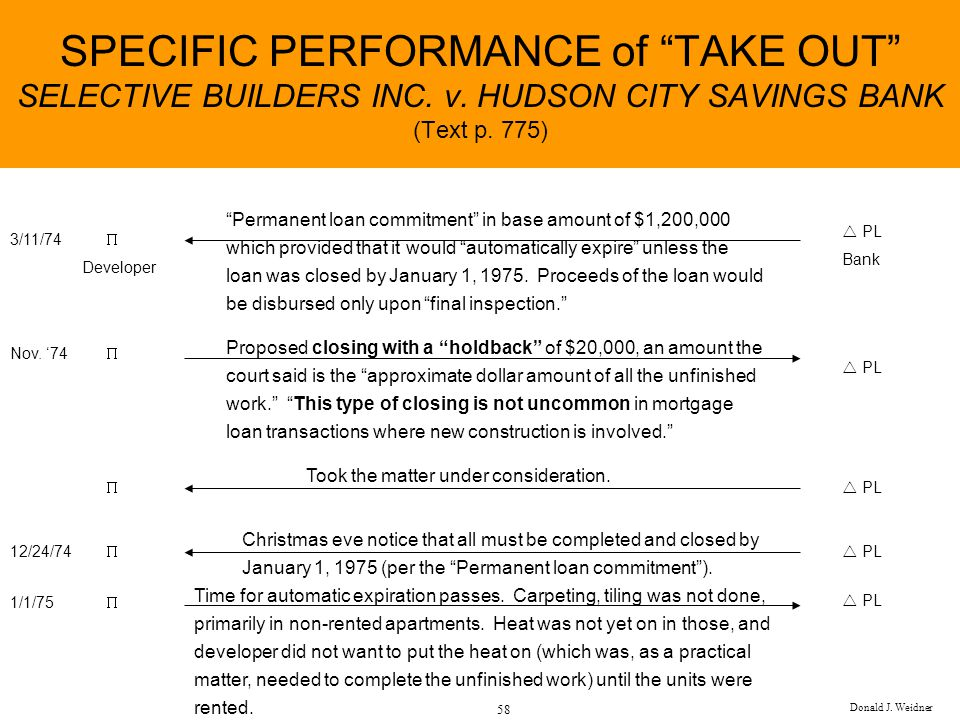 SPECIFIC PERFORMANCE of TAKE OUT SELECTIVE BUILDERS INC. v