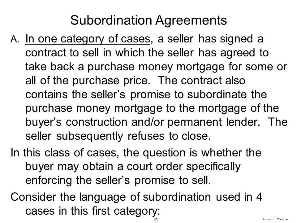 Subordination Agreements