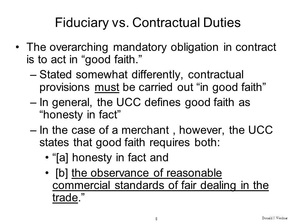 Fiduciary vs. Contractual Duties
