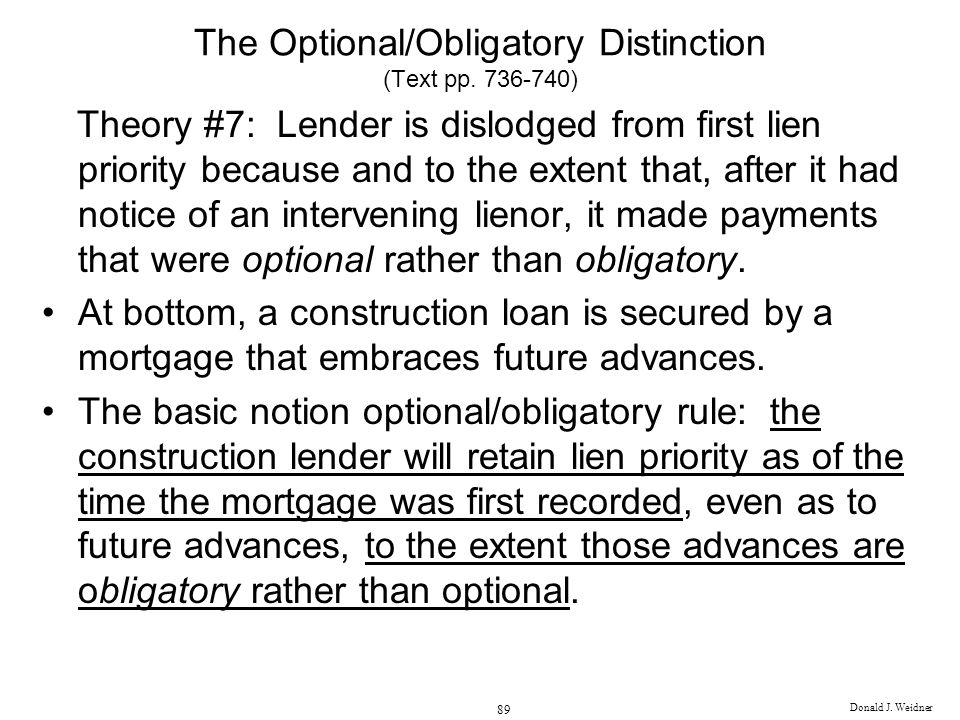 The Optional/Obligatory Distinction (Text pp. 736-740)