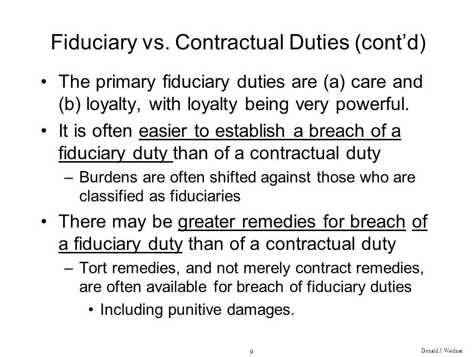 Fiduciary vs. Contractual Duties (cont'd)