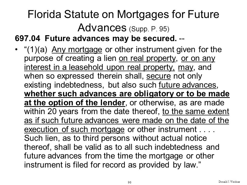 Florida Statute on Mortgages for Future Advances (Supp. P. 95)