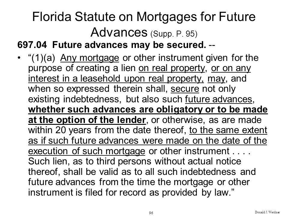 Florida Statute on Mortgages for Future Advances (Supp. P. 95)