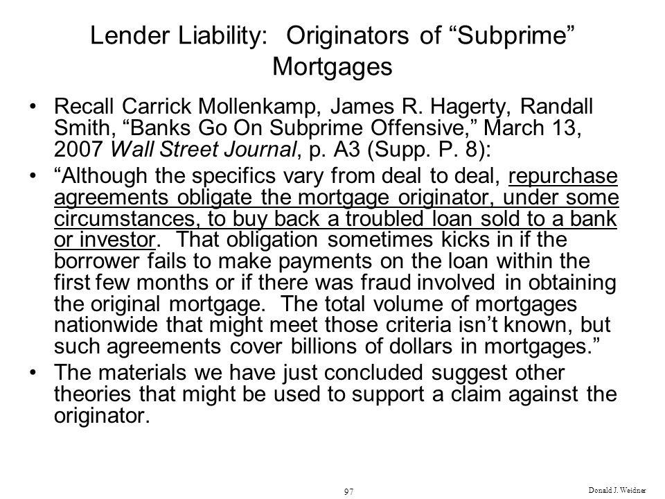 Lender Liability: Originators of Subprime Mortgages