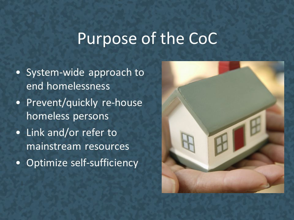 Purpose of the CoC System-wide approach to end homelessness