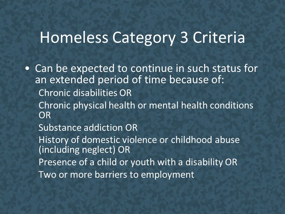 Homeless Category 3 Criteria