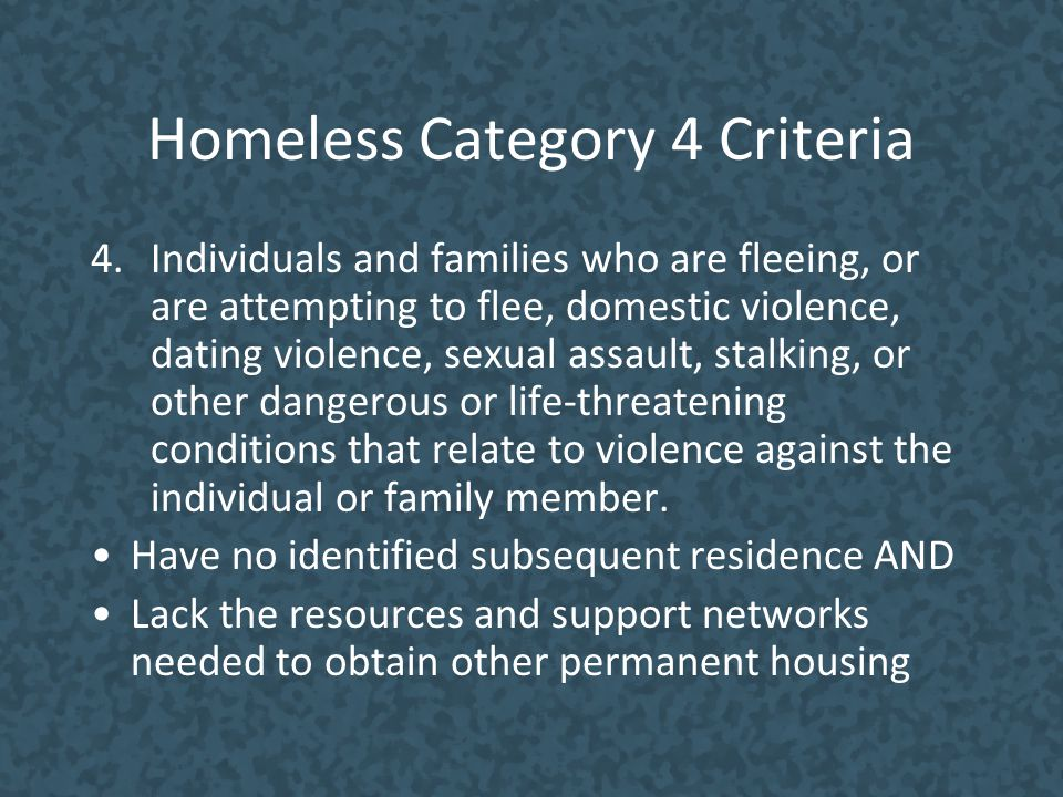 Homeless Category 4 Criteria