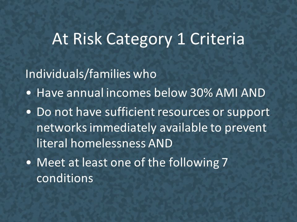 At Risk Category 1 Criteria