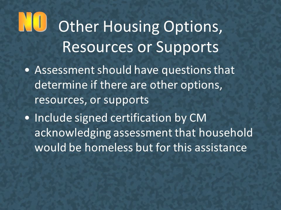 Other Housing Options, Resources or Supports