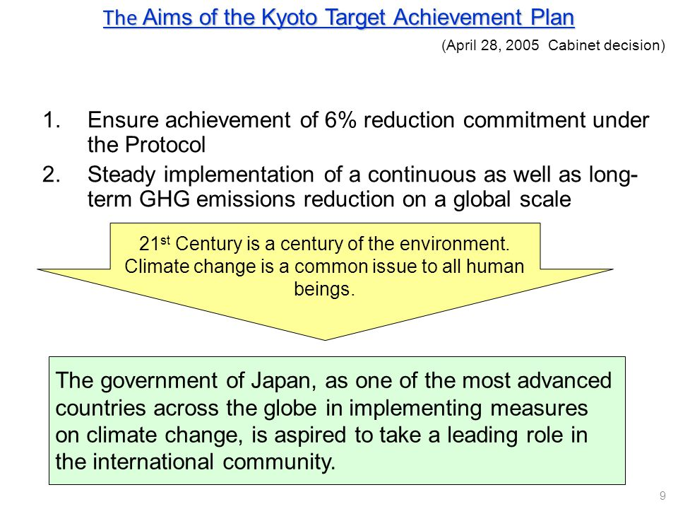 The Aims of the Kyoto Target Achievement Plan