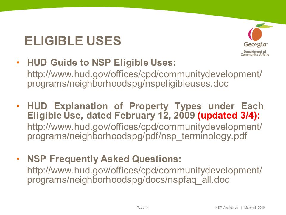ELIGIBLE USES HUD Guide to NSP Eligible Uses:
