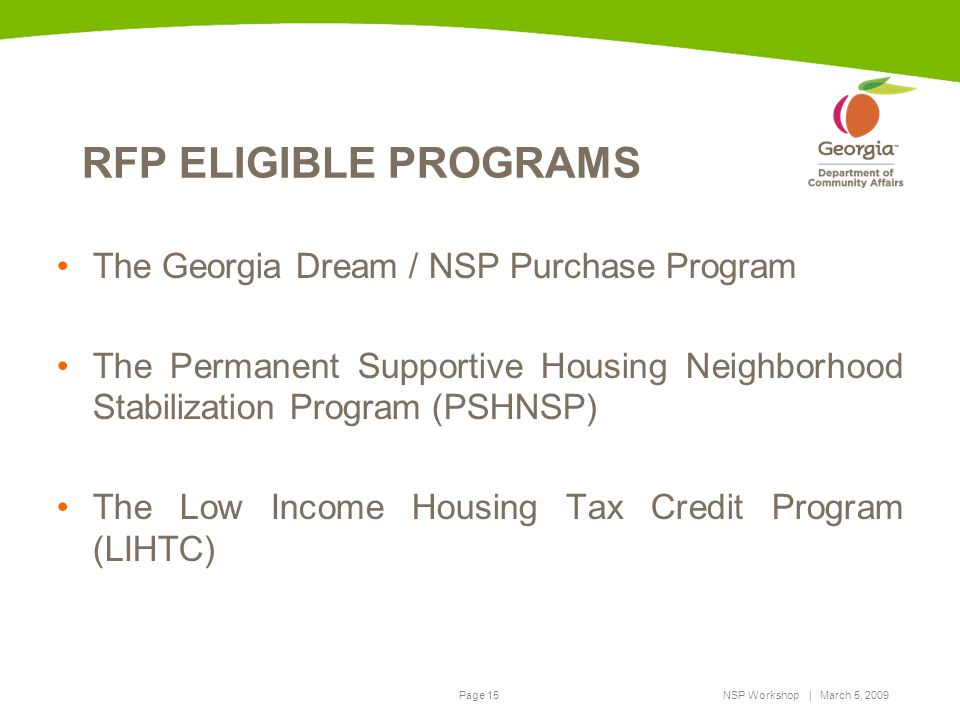 RFP ELIGIBLE PROGRAMS The Georgia Dream / NSP Purchase Program