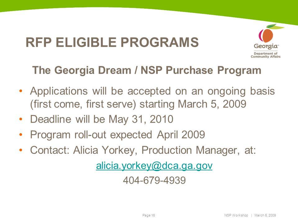 The Georgia Dream / NSP Purchase Program