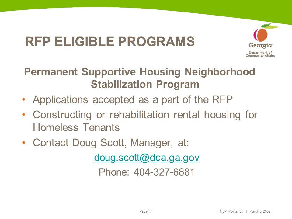 Permanent Supportive Housing Neighborhood Stabilization Program