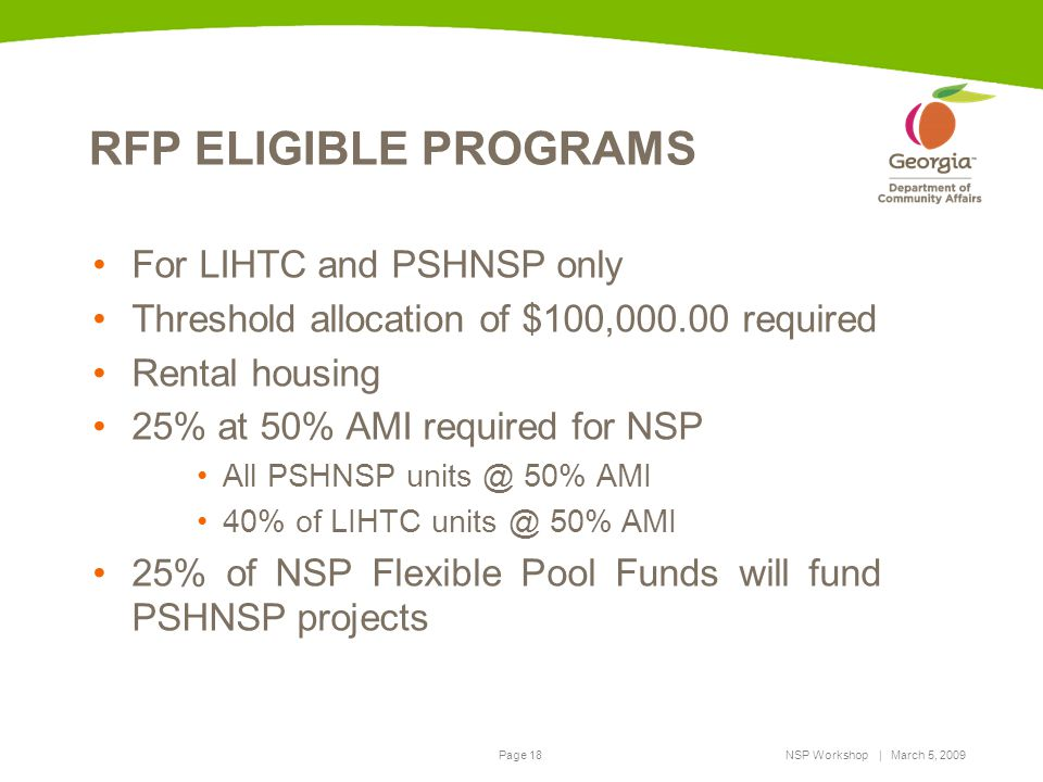 RFP ELIGIBLE PROGRAMS For LIHTC and PSHNSP only
